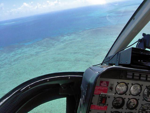 Chopper over Great Barrier Reef